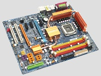 Picture of a computer Motherboard.